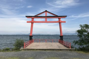 torii gate at lake biwa