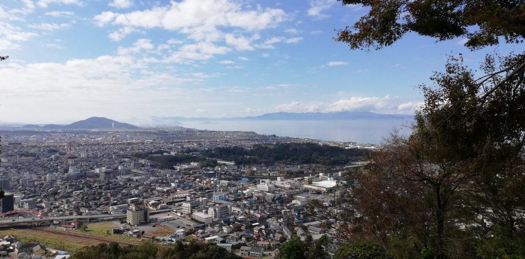 sawayama castle overlooking lake biwa